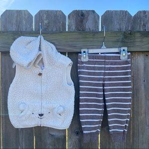 🌟3/$15🌟 Carter's Bear Hoodie Vest Set